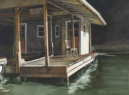 Army Dock Painting by Shirley Kleppe